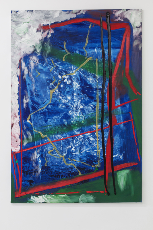 Union Pacific – Max Ruf - Untitled (black lines, red lines, green fields, prussian blue background, white), 2014 Oil on canvas 150 x 100 cm