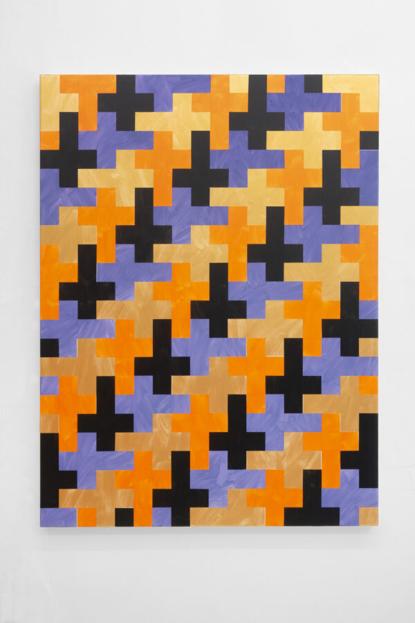 Union Pacific – Jan Kiefer - Untitled (crosses black, orange, purple, gold), 2021, Acrylic, acrylic medium on cotton, 1 11 20 x 90 cm