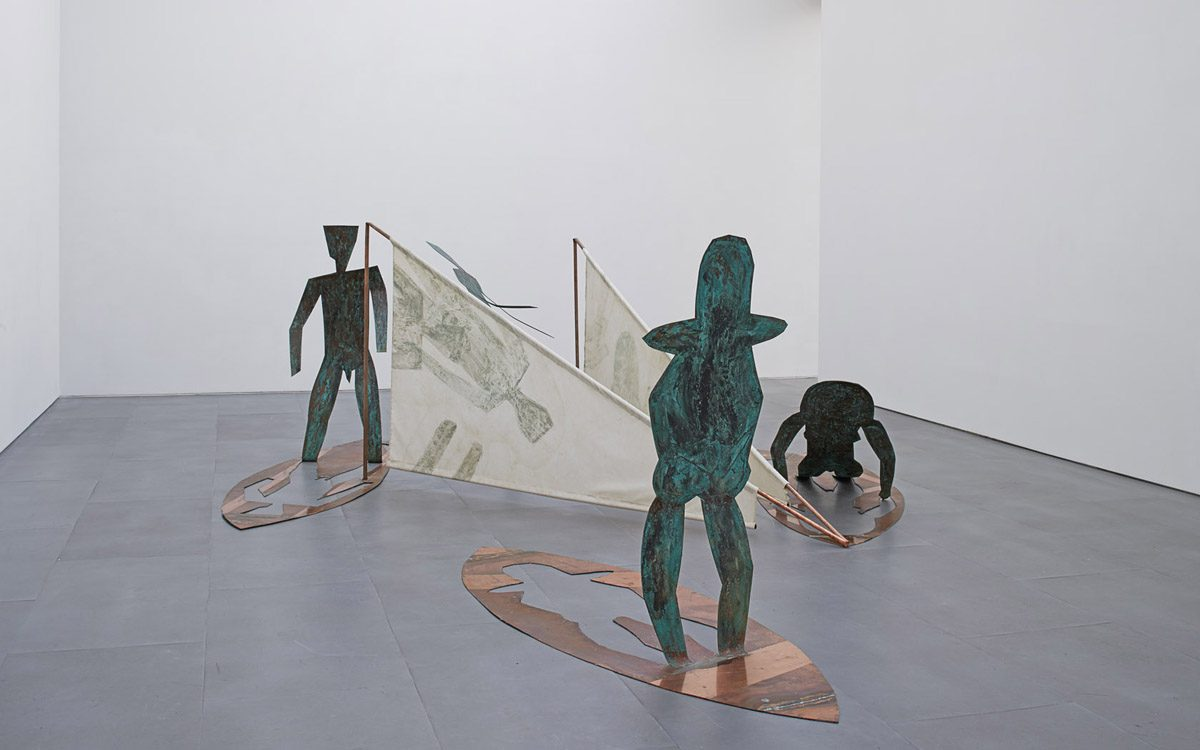 Union Pacific – Caroline Mesquita - Windsurfers, 2015, oxidized copper, fabric, 140 x 357 x 357 cm, exhibition view, Carlier Gebauer Image courtesy of Carlier Gebauer