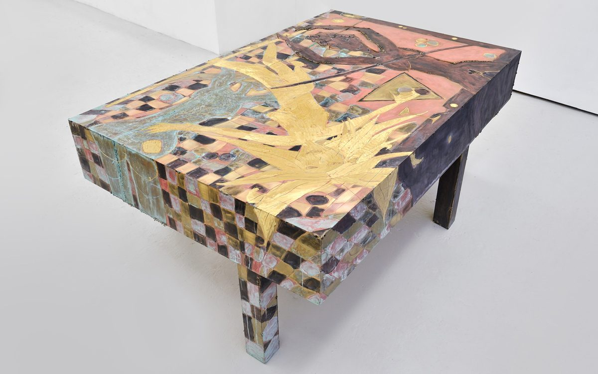 Union Pacific – Caroline Mesquita - Football Table, 2015, Chemically treated brass, 140 x 100 x 70 cm