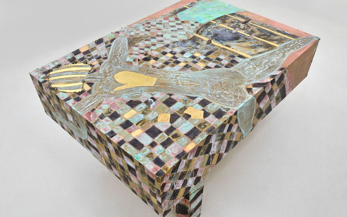 Union Pacific – Caroline Mesquita - Billiard Table, 2015, Chemically treated brass, 130 x 200 x 80 cm