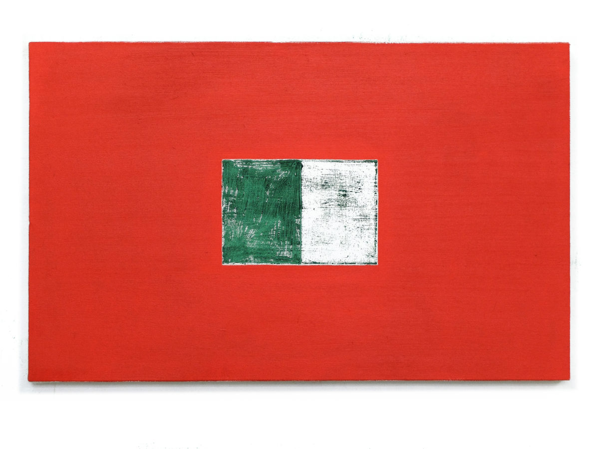 Union Pacific – Max Ruf - Untitled (imprint I, green on white, red), 2020, Oil on canvas, 90 cm x 55 cm