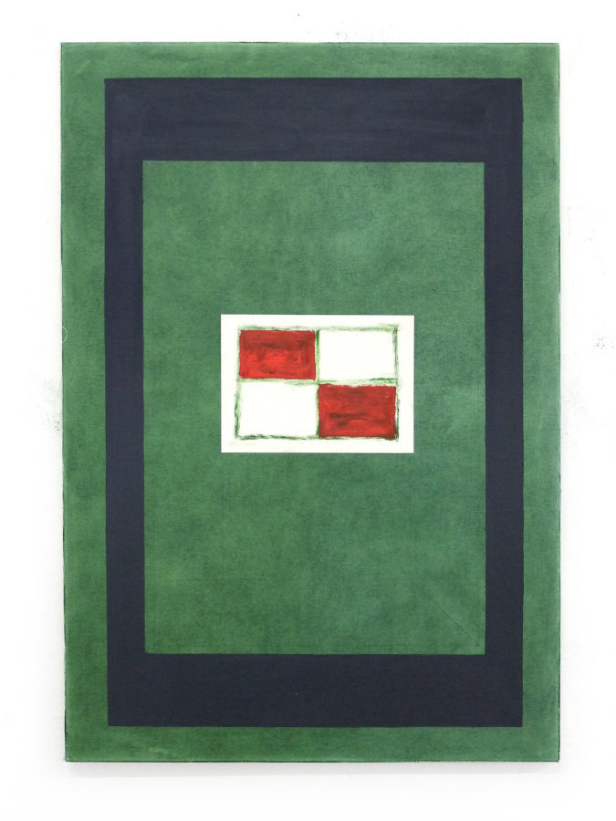 Union Pacific – Max Ruf - Untitled (green field, grey rectangle, drawing, square, two red fields, two white fields), 2020, Oil on paper on oil on canvas, 80 x 120 cm