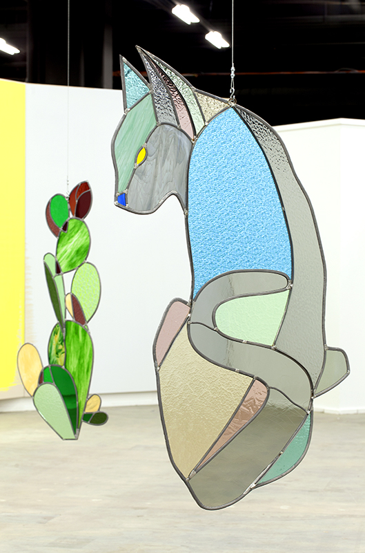 Union Pacific – Jan Kiefer - Cats & Cactus, 2016, Installation view, Swiss Art Awards, Basel (CH), stained glass, lead, metal, 153 x 90 cm