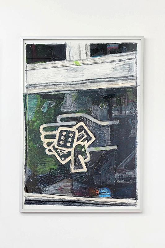 Union Pacific – Jan Kiefer - Jeden Dienstag und Freitag Millionen gewinnen, 2014/15, oil stick on cotton paper (framed), 100x70x3 cm