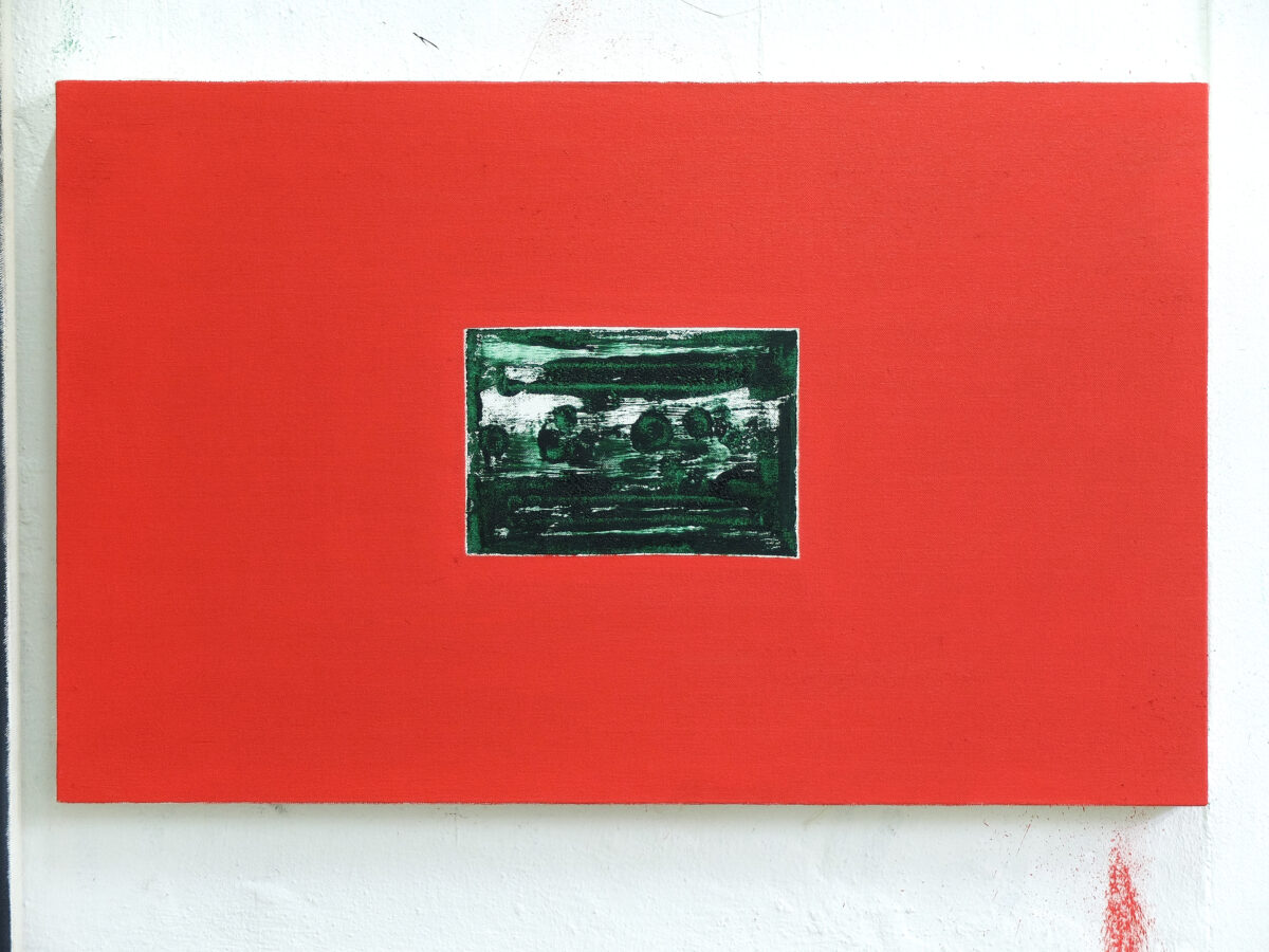Union Pacific – Max Ruf - Untitled (imprint I, green on white, red), 2020, oil on canvas, 90 x 55 cm