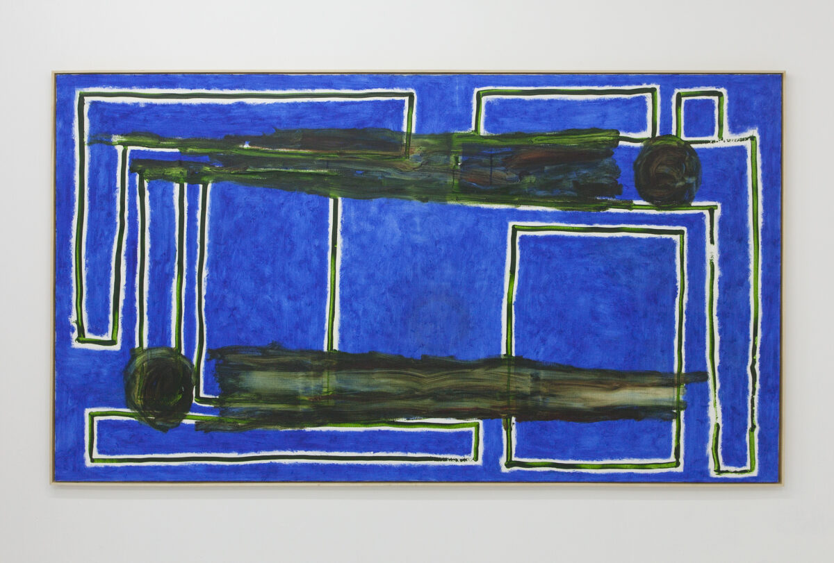Union Pacific – Max Ruf - Untitled (transparent green lines, blue, two figures, horizontal), 2019, oil on canvas, 230 x 130 cm