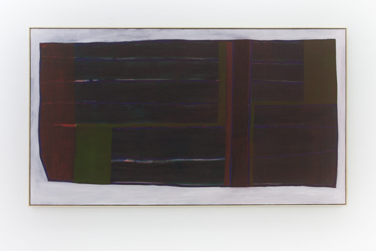 Union Pacific – Max Ruf - Untitled (blue lines, phthalo green, red wash, white), 2016-2019, oil on canvas, 245 x 135 cm