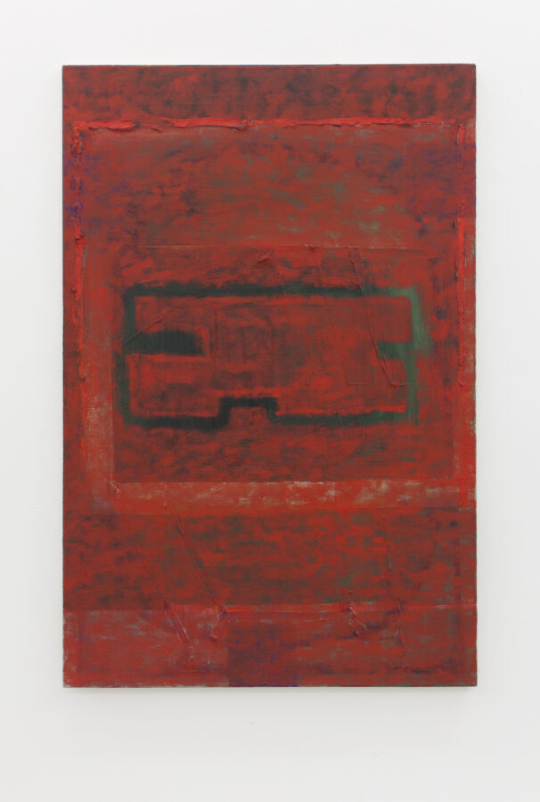 Union Pacific – Max Ruf - Untitled (red shape, red field, dark background) 2018, oil on canvas, 80 x 120 cm