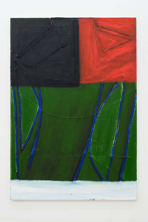 Union Pacific – Max Ruf - Untitled (black field, red field, blue lines, green, white), 2017, oil on canvas, 134 x 195 cm