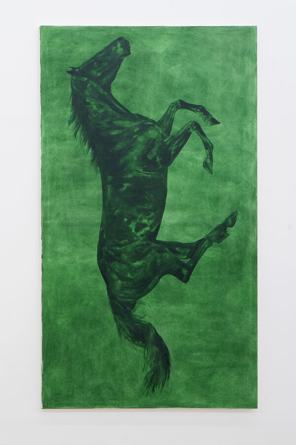 Union Pacific – Max Ruf - Untitled (green horse, green background, vertical), 2017, oil on canvas,130 x 230 cm