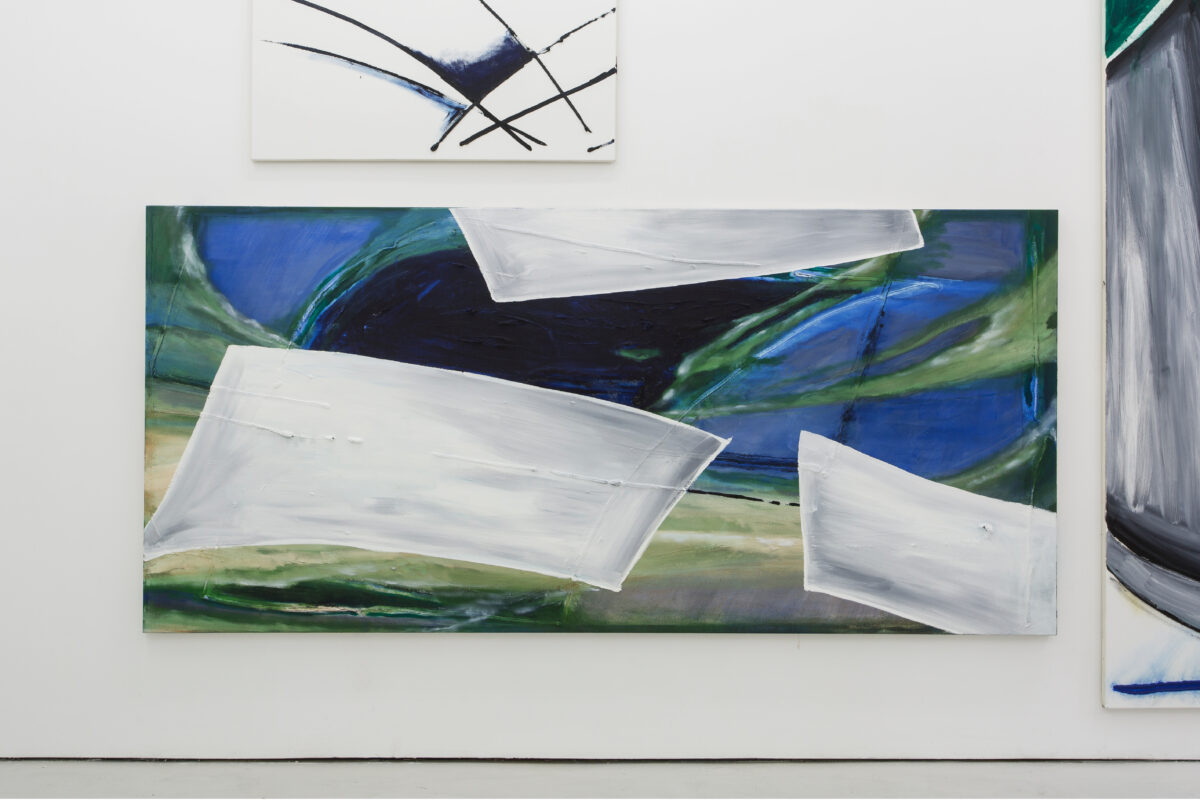 Union Pacific – Max Ruf - Untitled (prussian blue, blues, greens, three grey fields), 2015, oil on canvas, 300 × 140 cm, Union Pacific