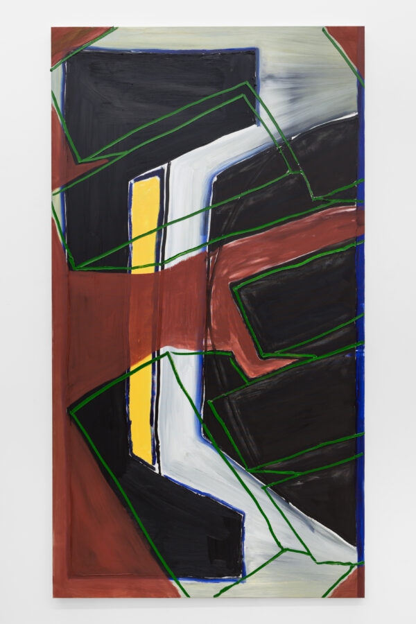 Union Pacific – Max Ruf - Untitled ( green lines and old english red, on grey, black and yellow ), 2016, oil on canvas, 134 x 245 cm
