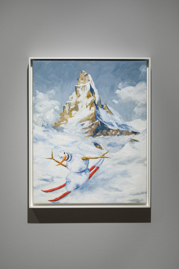 Union Pacific – Jan Kiefer - Skiing Snowman (orange skis), 2019, detail. Oil on canvas.
