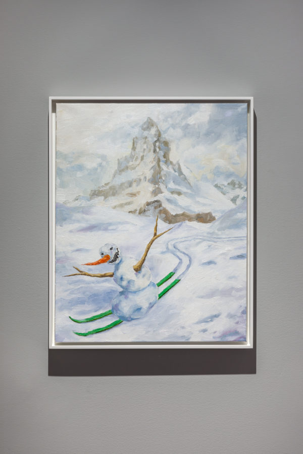 Union Pacific – Jan Kiefer - Skiing Snowman (green skis), 2019, detail. Oil on canvas.