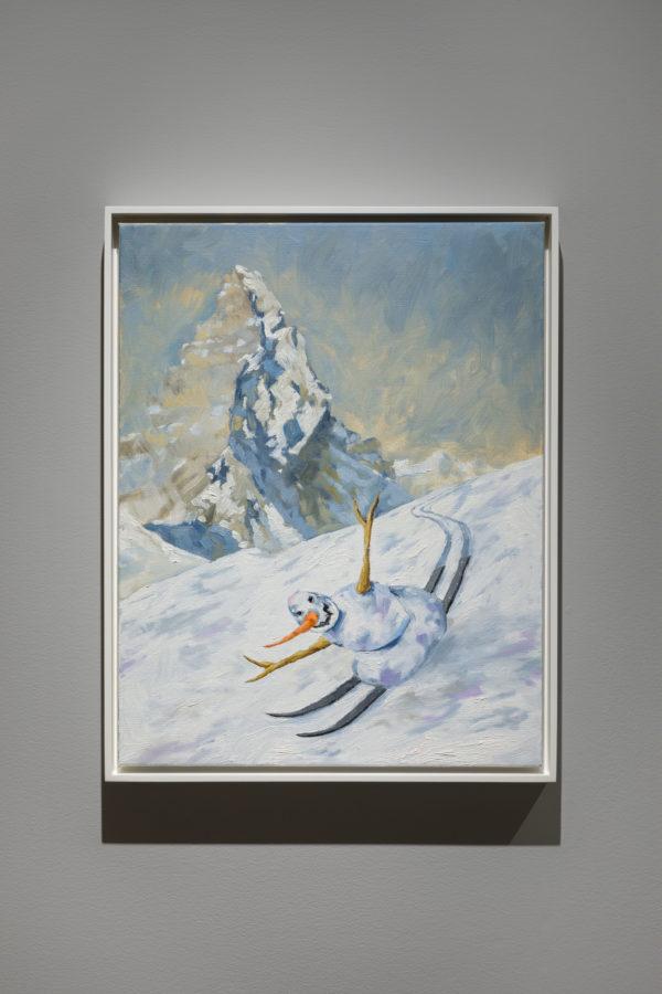 Union Pacific – Jan Kiefer - Skiing Snowman (black skis), 2019, Oil on canvas.