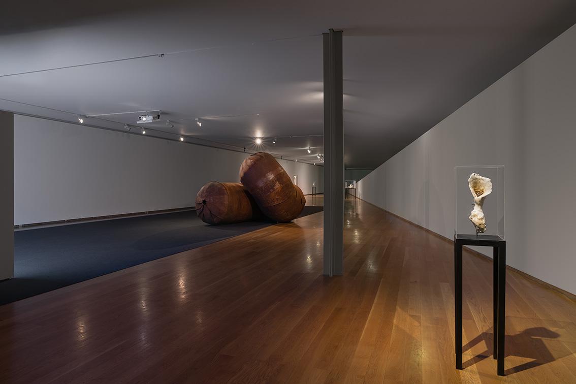 Union Pacific – Caroline Mesquita - Astray, 2019, Galeria Municipal do Porto, video 17 minutes 55 seconds,steel, plexiglass, plaster and wax  Photo: Dinis Santos
