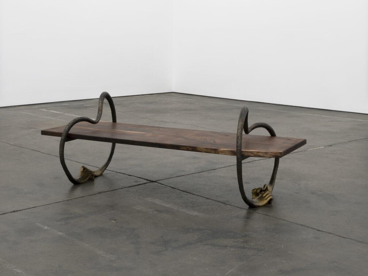 Union Pacific – Koak - Bench, 2020, cast bronze and walnut, 218.4 x 87.6 x 78.7 cm