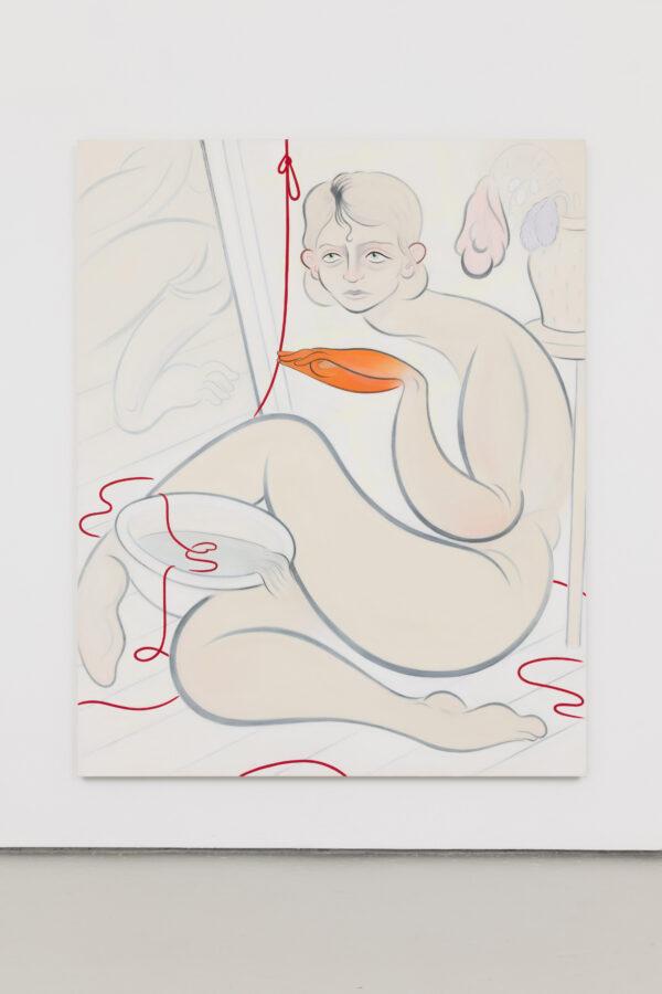 Union Pacific – Koak - Red String, 2021, Acrylic, pastel, graphite and casein on canvas, 195 cm x 157 cm