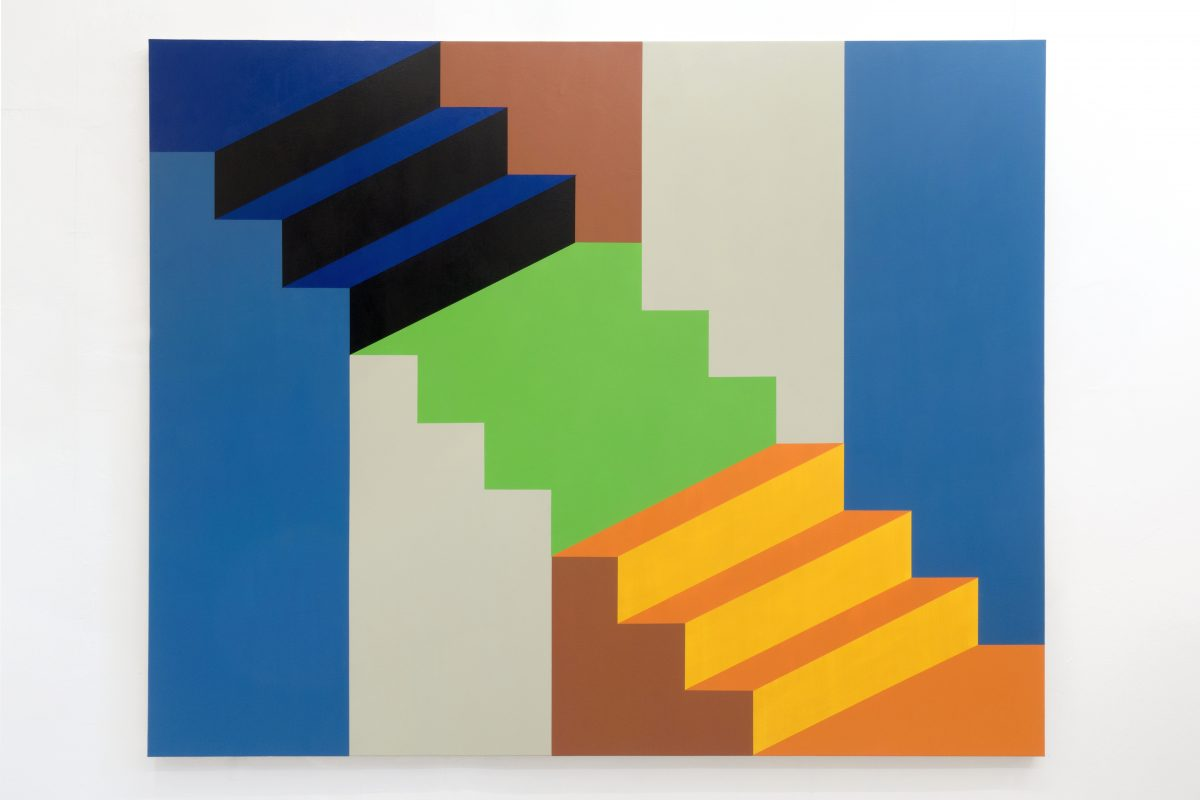 Union Pacific – Jan Kiefer - Stairs - Permanent Green, 2019, Acrylic and acrylic medium on canvas, 200x160 cm