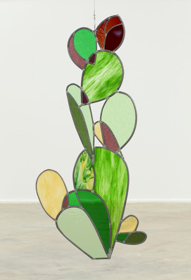 Union Pacific – Jan Kiefer - Cactus, 2017, Stained antique glass, lead, tin, stainless steel, 161 x 76 cm