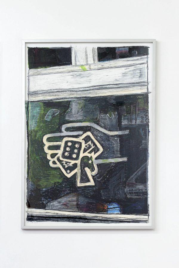 Union Pacific – Jan Kiefer - Jeden Dienstag und Freitag Millionen gewinnen, 2014/15, Oil stick on cotton paper (framed) 100x70x3 cm